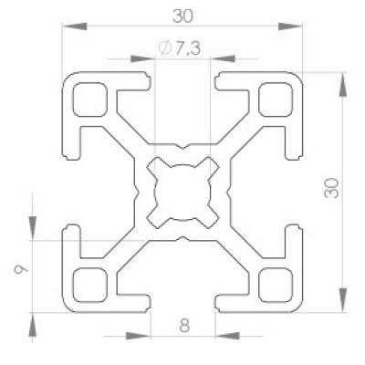 profil d 39 assemblage modulaire 30x30 aluminium 6060 aludis vente d 39 alliages d 39 aluminium. Black Bedroom Furniture Sets. Home Design Ideas