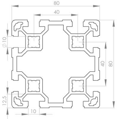 profil d 39 assemblage modulaire 80x80 aluminium 6060 aludis vente d 39 alliages d 39 aluminium. Black Bedroom Furniture Sets. Home Design Ideas